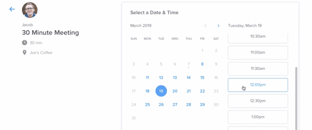 Easy calendar system to set up and/or change meetings with a few clicks.