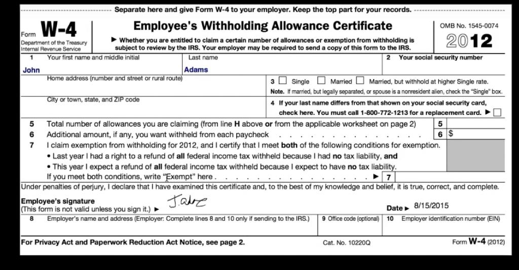 PDF like a government W-4 form.