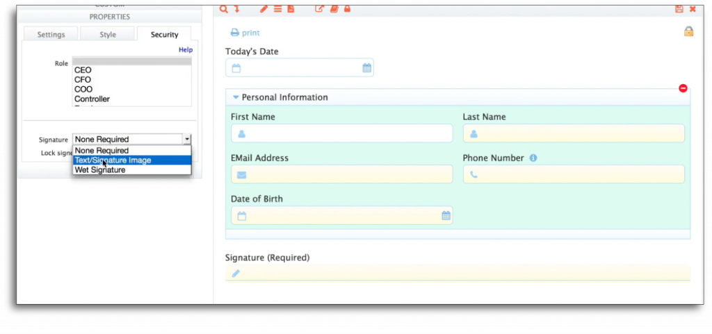 Add a Digital Signature to a Section of Your Form