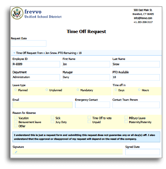 Employee Completes Time Off Request Form