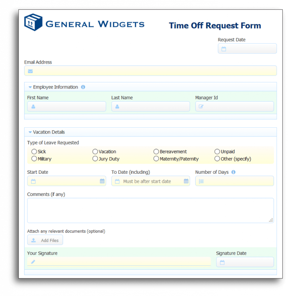 fully-functional time off request form