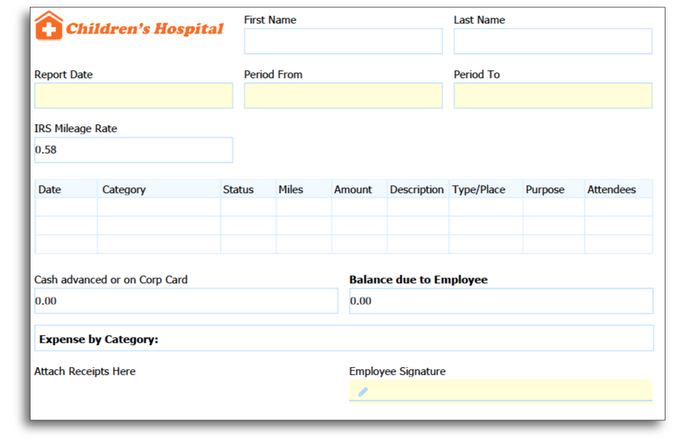 Create Your Expense Report Form