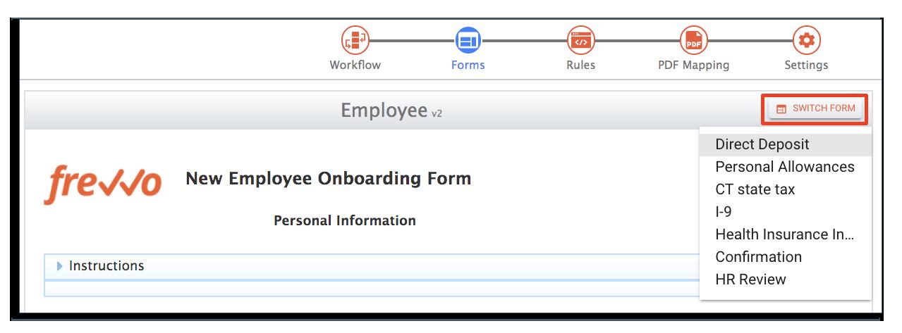 switch form in employee onboarding form workflow