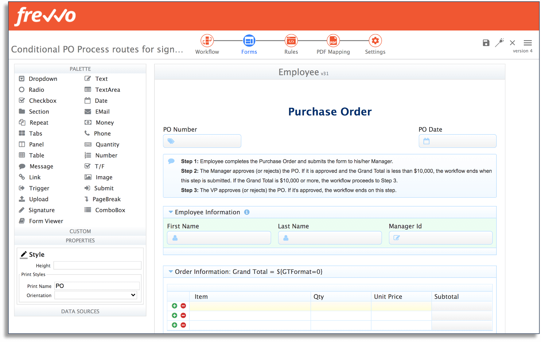 pre-built template for purchase order