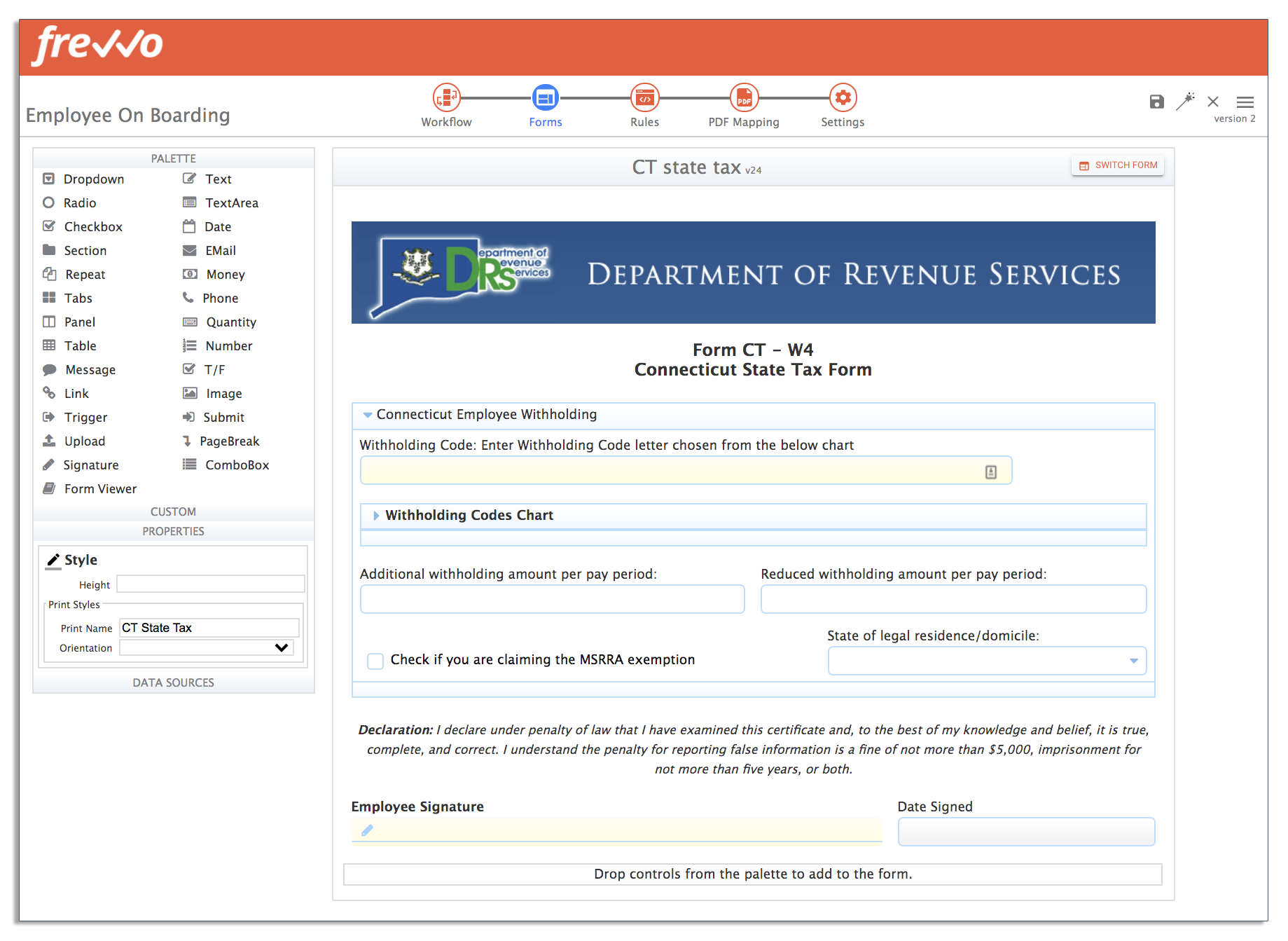 state tax form in onboarding workflow