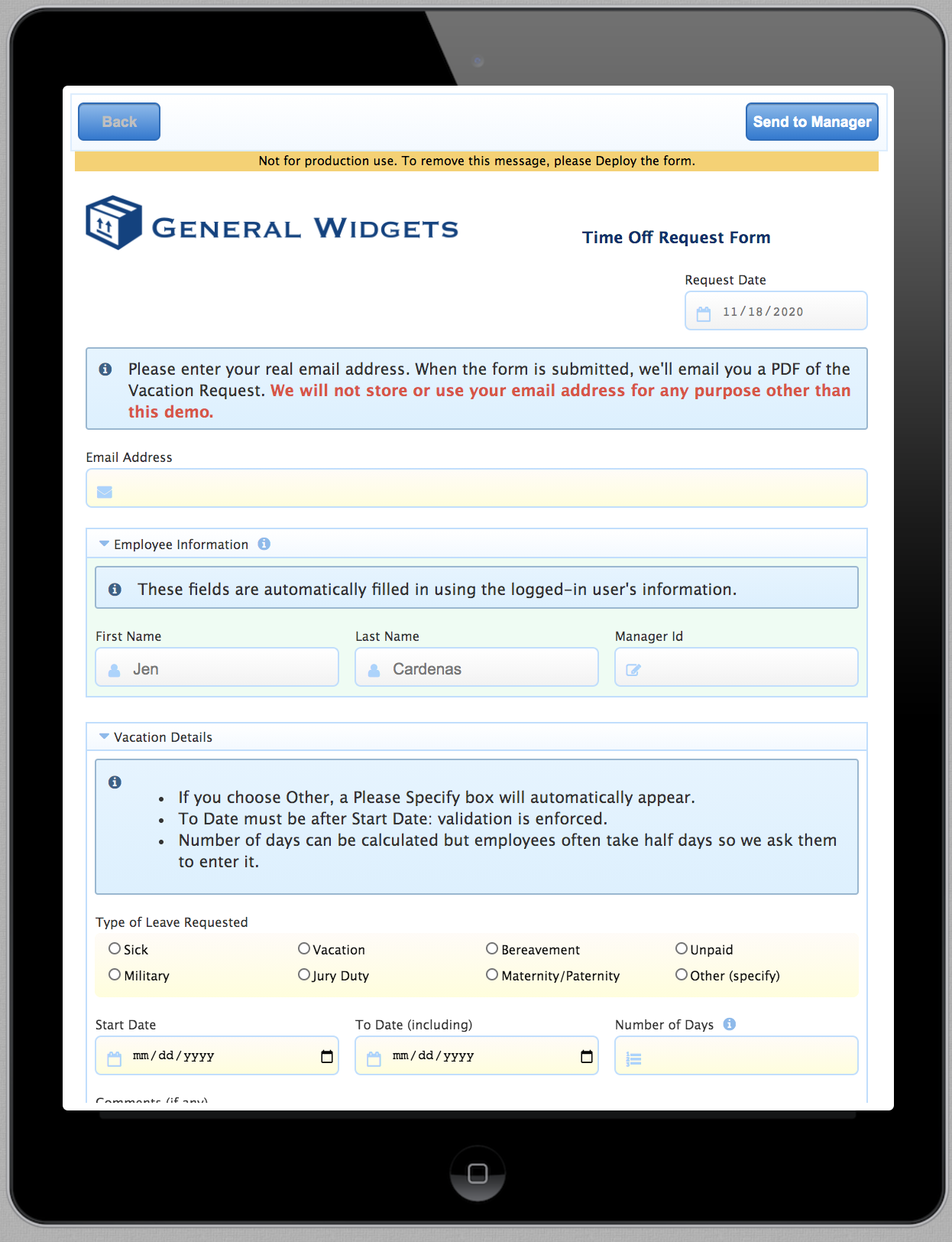 Testing an electronic signature workflow on mobile devices