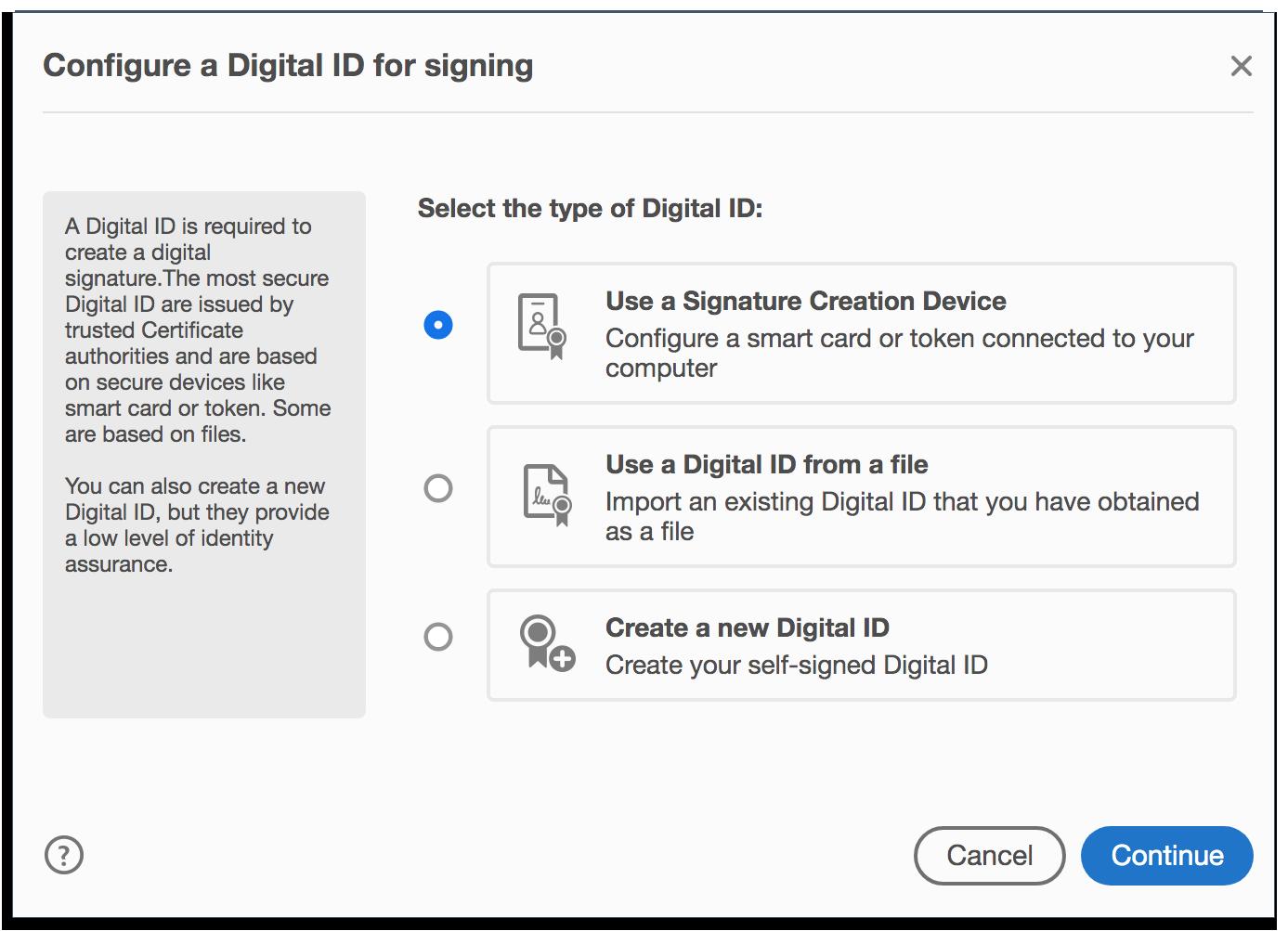 Configure a Digital ID in Adobe Acrobat