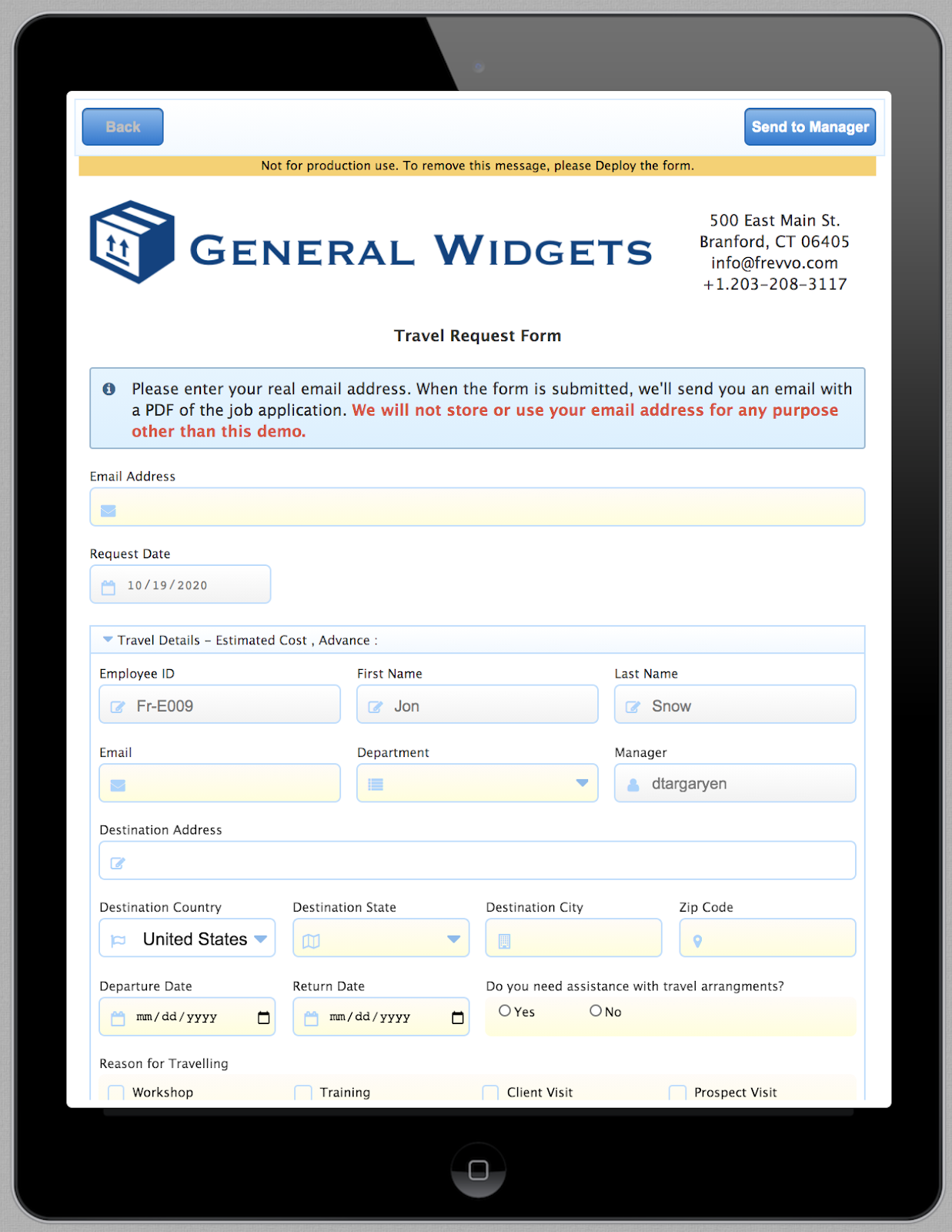 Travel Request form on a tablet