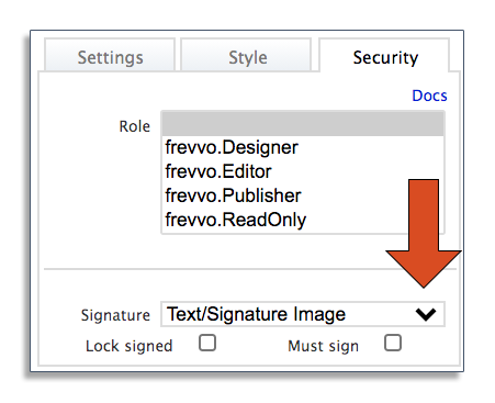 Security settings for digital signatures in frevvo