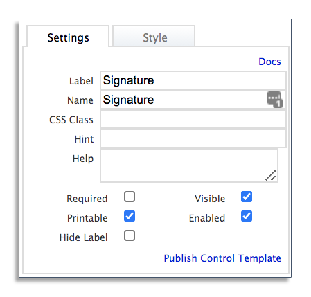 Settings tab for electronic signatures in frevvo