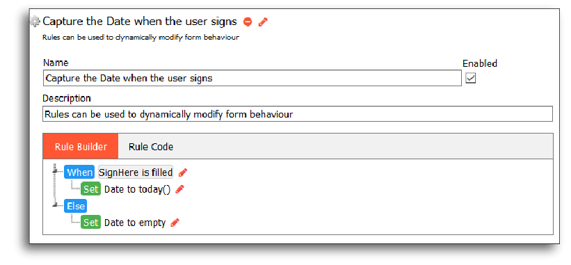 Synopsis of a rule to capture dates when a user signs