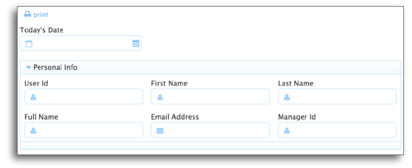 Form in frevvo that automatically fills in user details