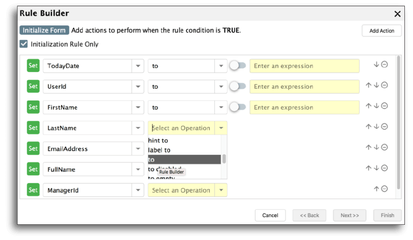 Changing field settings on a form