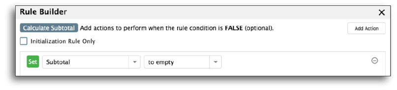 Setting the subtotal field to empty
