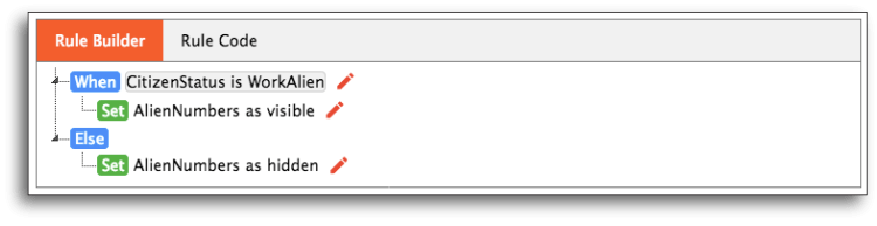 Rule code for showing or hiding certain form sections