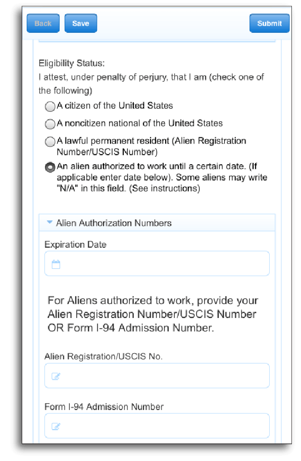 Form that shows or hides sections based on eligibility status