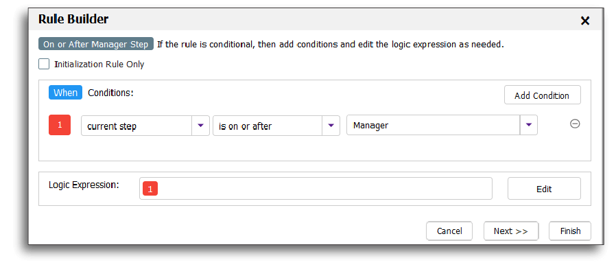 Creating conditional rules in frevvo's Visual Rule Builder