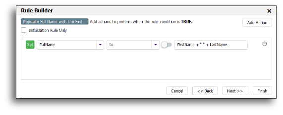 Using the Visual Rule Builder to concatenate names