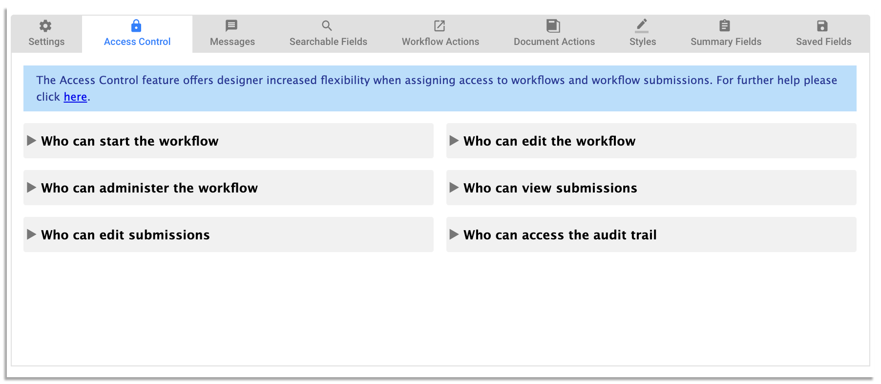 workflow access controls on frevvo