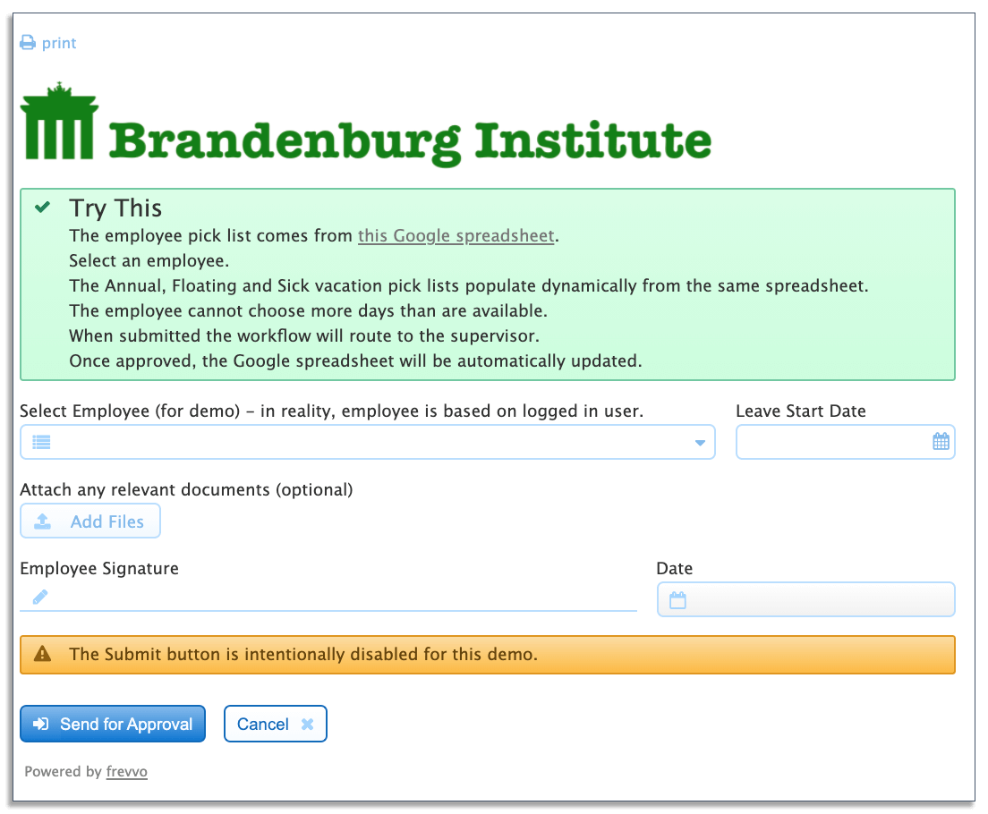 example of dynamic frevvo vacation form