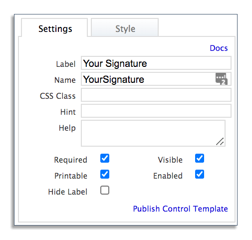 Form settings in frevvo