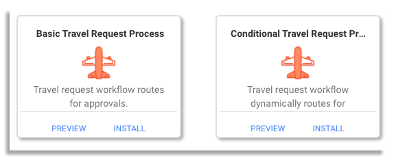 travel request workflow templates on frevvo