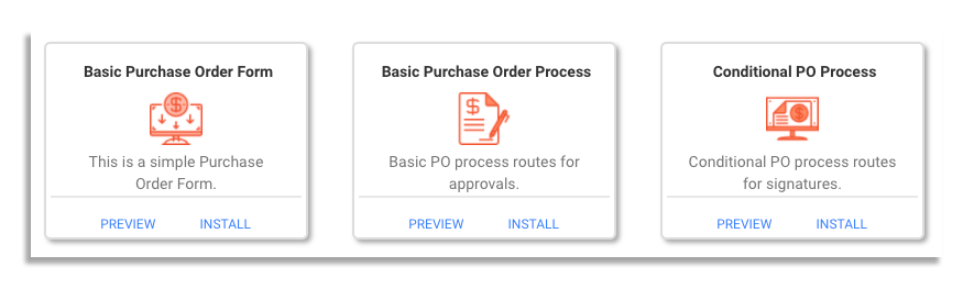 purchase order workflow templates on frevvo