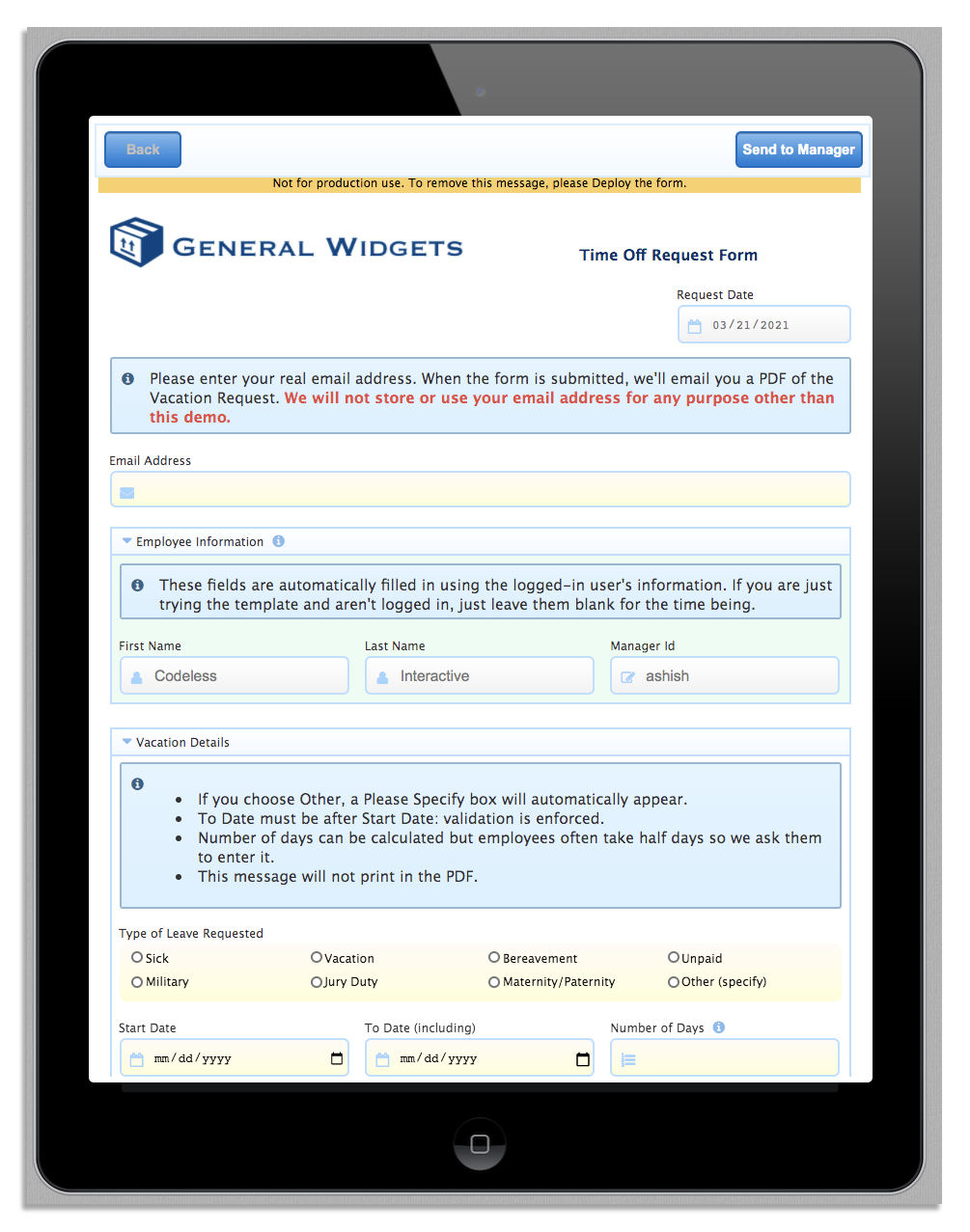 Testing a workflow with frevvo's workflow automation software
