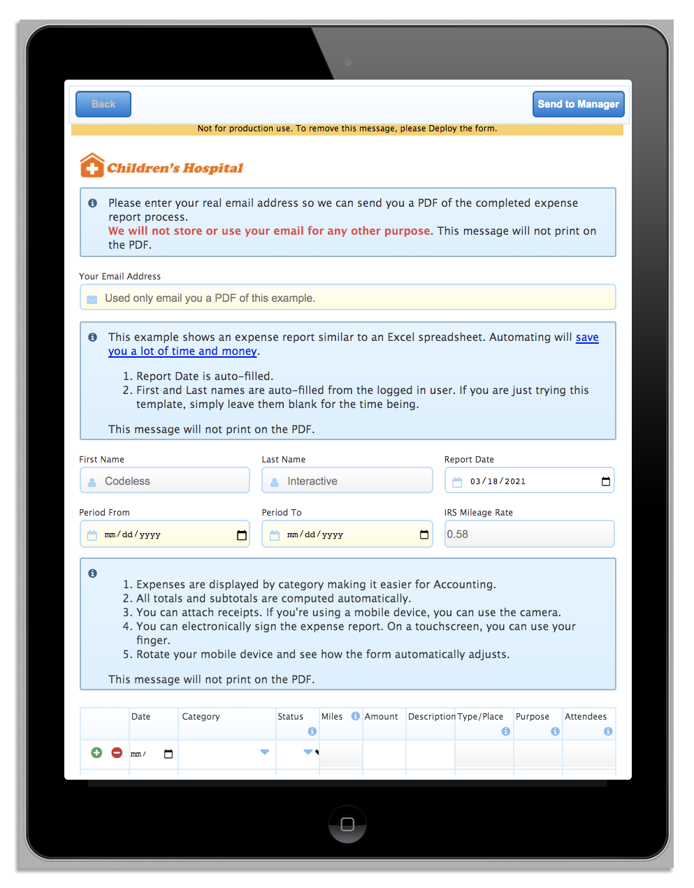 Mobile preview for expense claim form