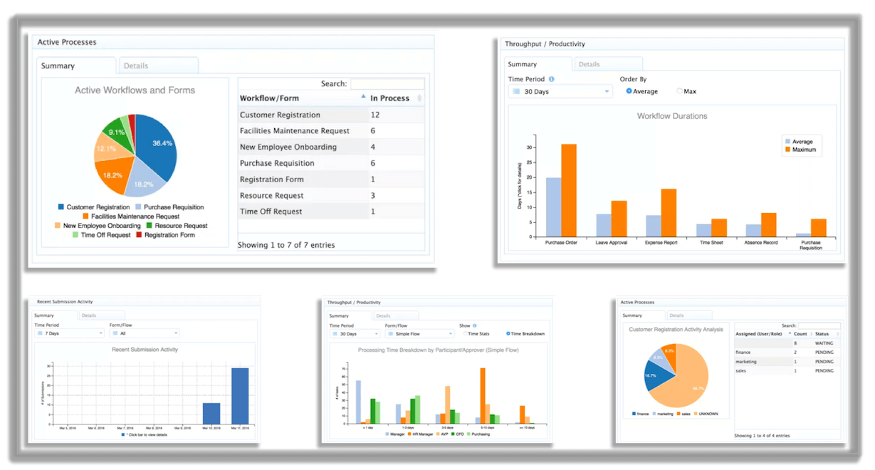 Reports and analytics from frevvo's workflow automation software