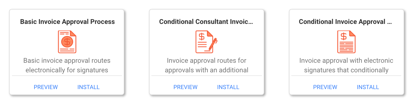 pre-built templates for invoice approvals in frevvo