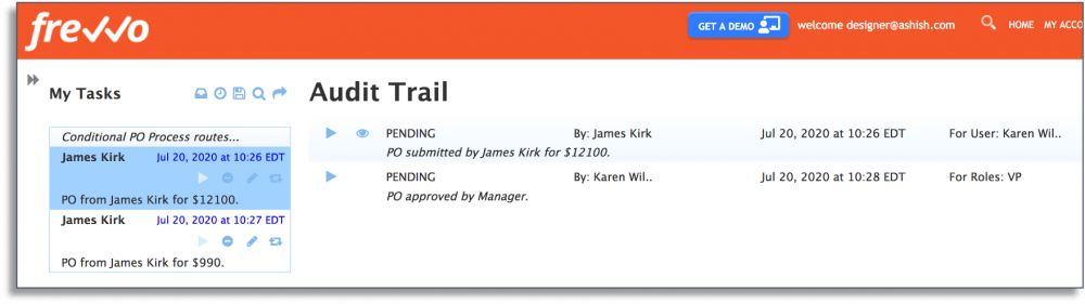 Creating an audit trail in frevvo