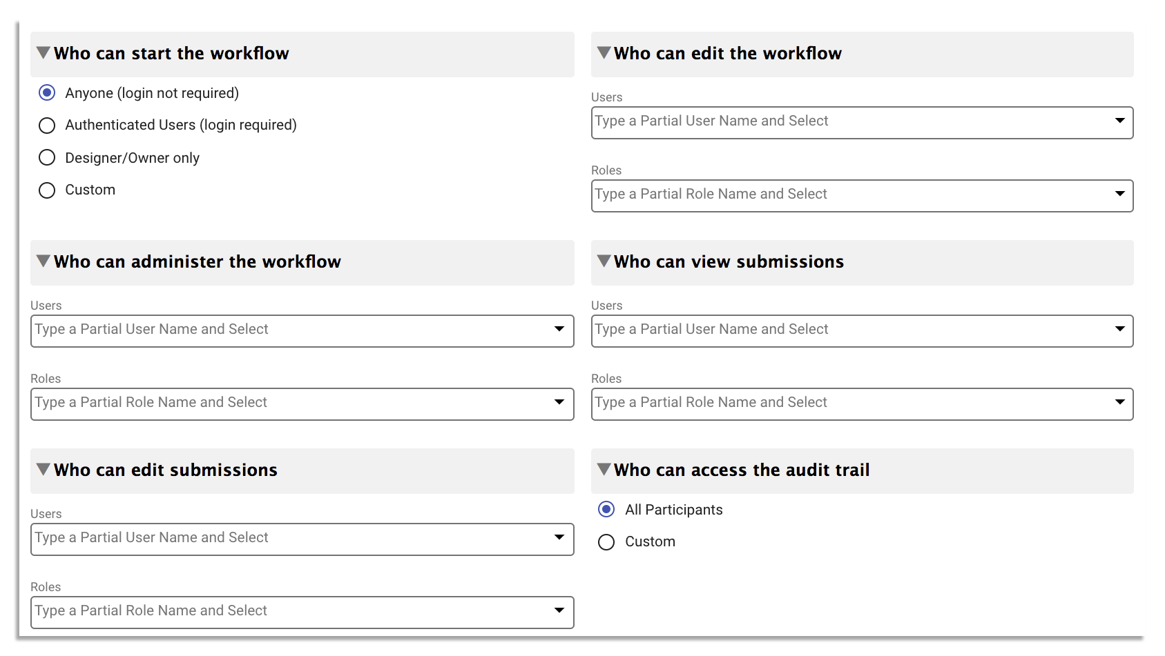 Role-based access feature on frevvo