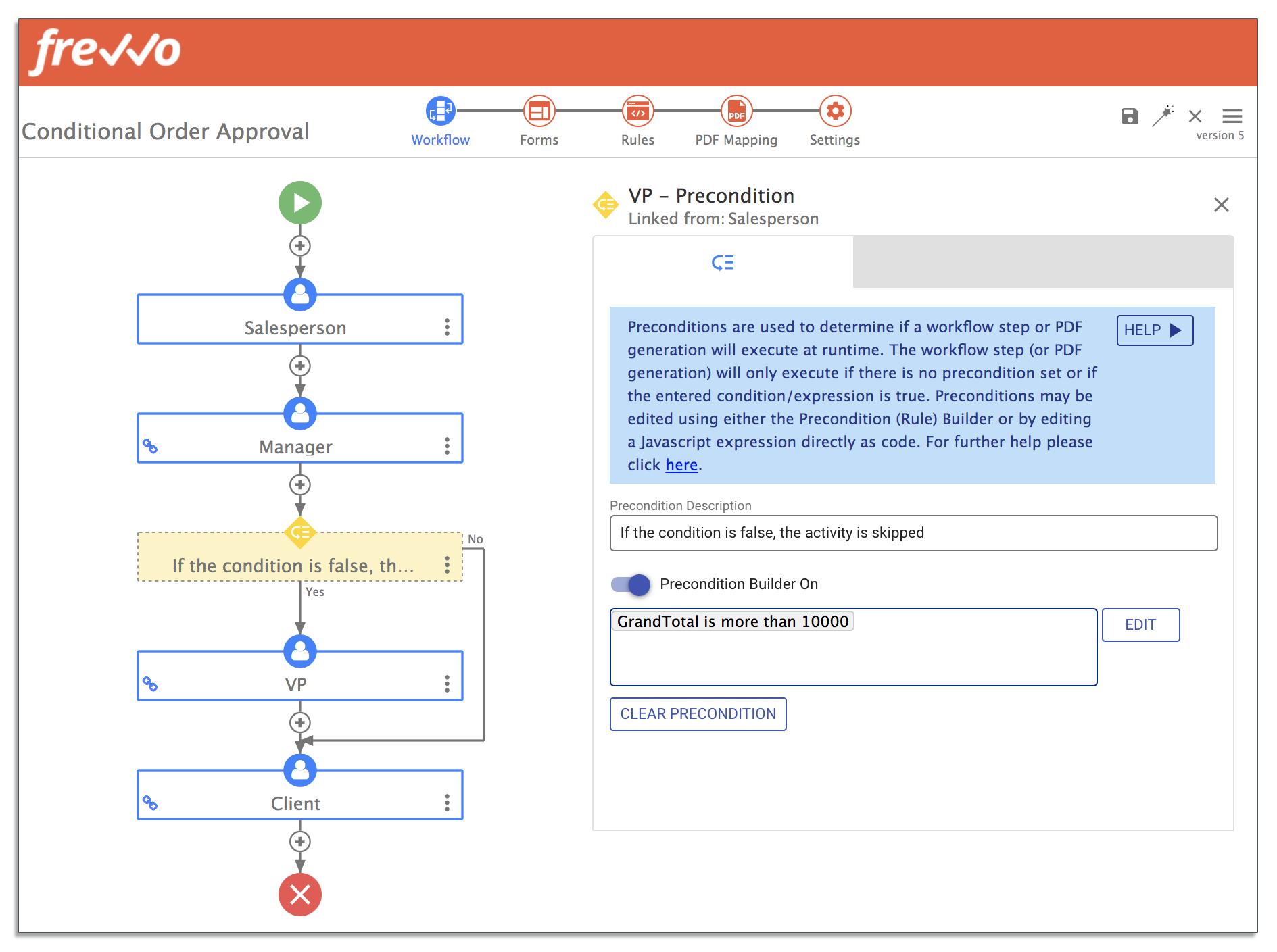 frevvo dashboard for a conditional order process