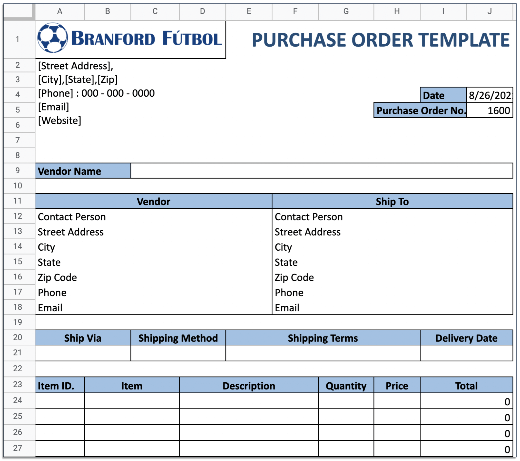 Purchase order in Excel