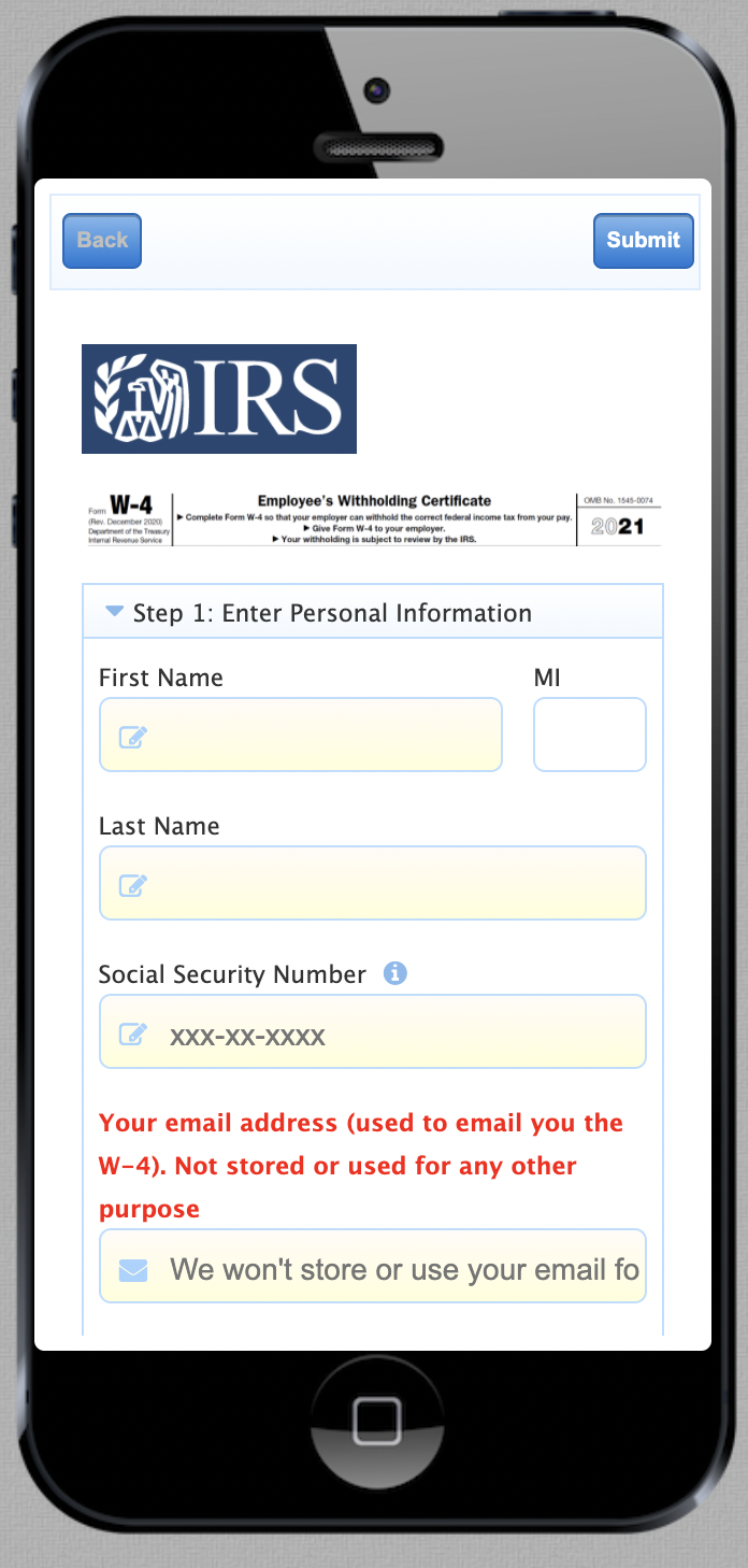 Example of a form with text labels