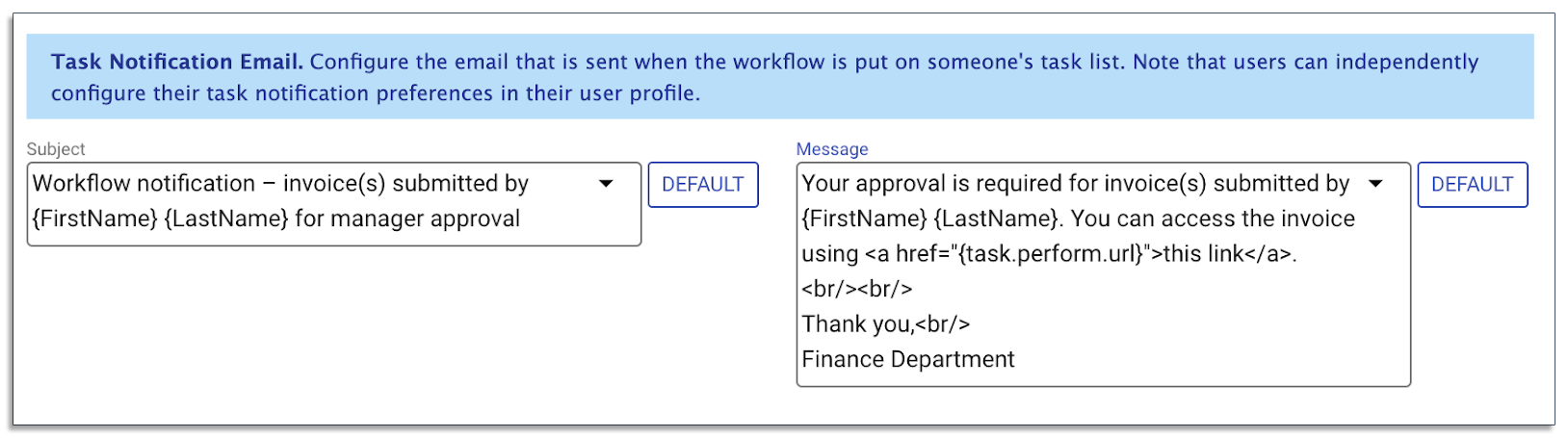 message to notify approvers on frevvo