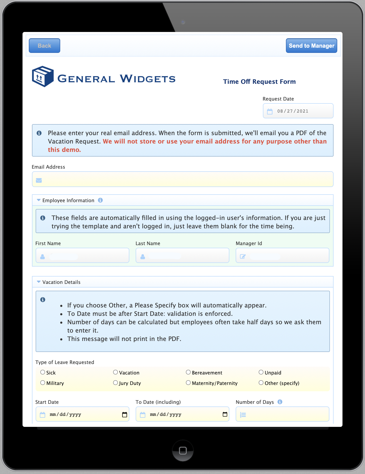 Example of a form on a tablet