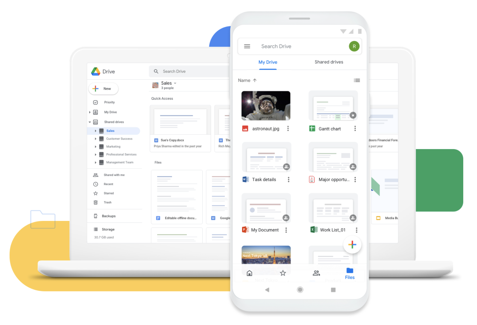 Managing files with Google Drive
